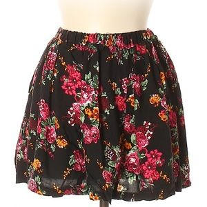 [a1-14] PacSun Kirra Black Red Floral Skirt